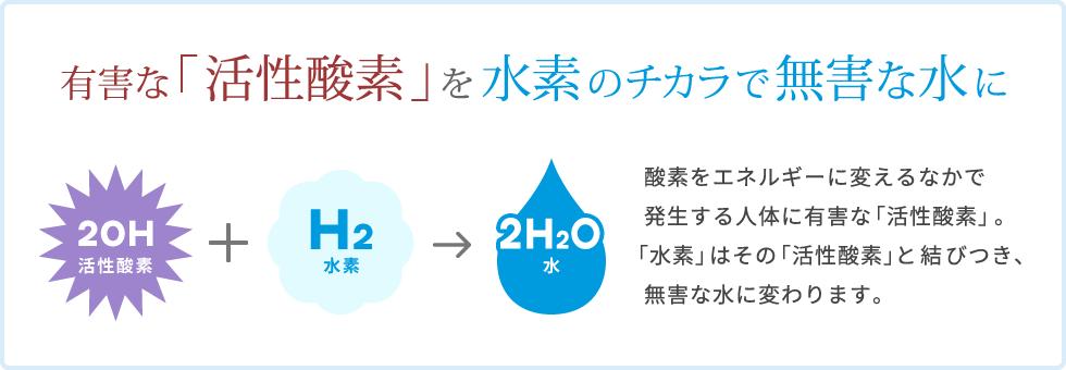 有害な「活性酸素」を水素のチカラで無害な水に