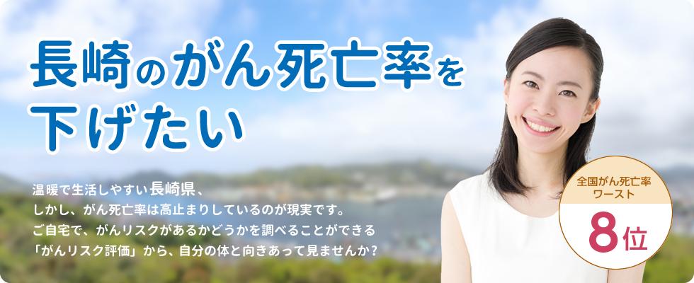 長崎のがん死亡率を下げたい 温暖で生活しやすい長崎県、しかし、がん死亡率は高止まりしているのが現実です。ご自宅で、がんリスクがあるかどうかを調べることができる「がんリスク評価」から、自分の体と向きあって見ませんか? 全国がん死亡率ワースト8位